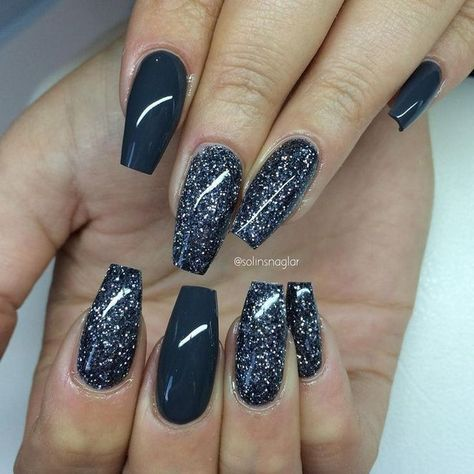 23 Ideas Nails Acrylic Coffin Dark Grey In 2020 Grey Nail Designs Winter Nails Trendy Nails
