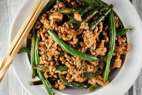 Spicy Ground Turkey And Green Bean Stir Fry Turkey And Green Beans Ground Turkey Recipes Healthy Ground Turkey Recipes