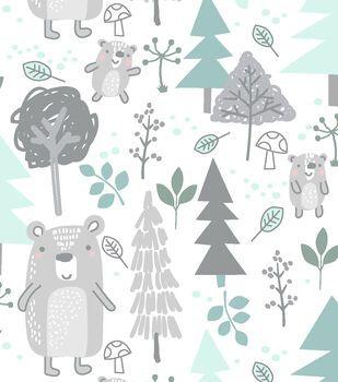 Nursery Flannel Fabric-Woods White Bear