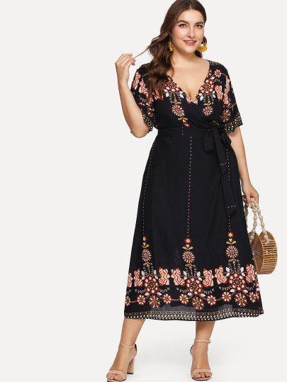 Shop Plus Tribal Print Surplice Wrap Belted Dress Online Shein Offers Plus Tribal Print Surplice Plus Size Boho Clothing Boho Clothing Australia Boho Outfits