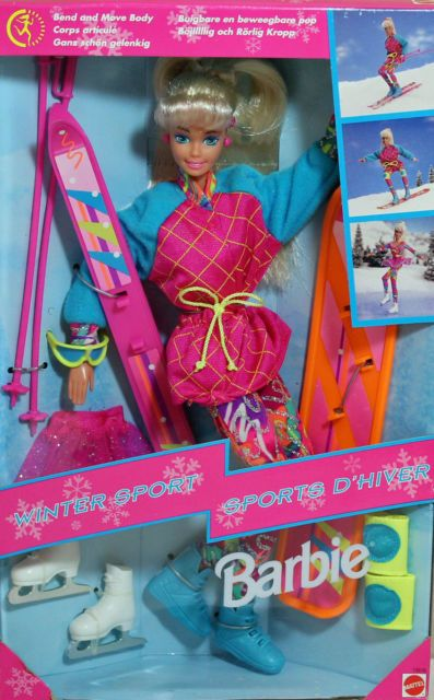 TOP BARBIE DOLL MATTEL 1994 WINTER SPORTS PINK SPARKLE TUTU  CLOTHING ACCESSORY