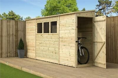 Reversed Pent Shed 9x3 10x3 12x3 14x3 Tanalised T G 3 Windows Door Right End Shed Wooden Garden Garden Storage Shed