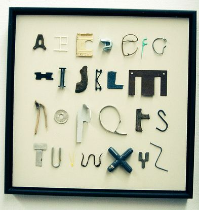 alphabet found object art-kids can raid junk drawers, desks, backpacks... Be creative!