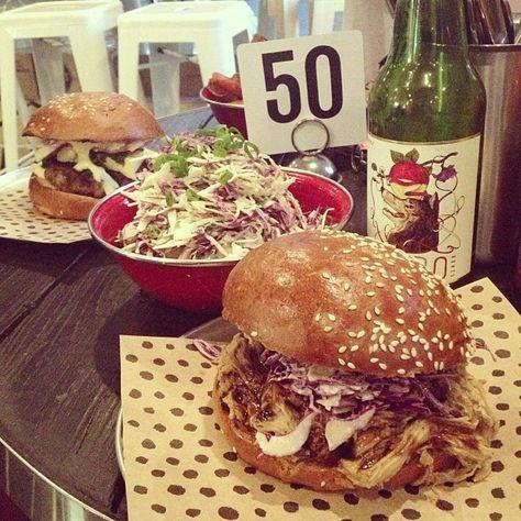 Crumbed Fish Fillet Burger and BBQ Pulled Pork Red Slaw Burger @ Chur Burger, Surry Hills.