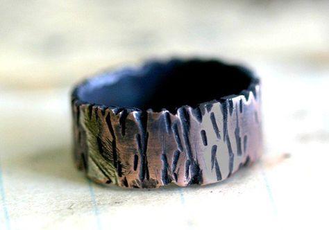 Tree Bark Copper Band Ring Redwood Tree By Monkeysalwayslook Adorn