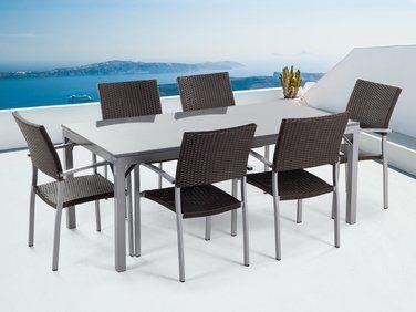 Ensemble de jardin - table en granit 180 cm - 6 chaises en ...