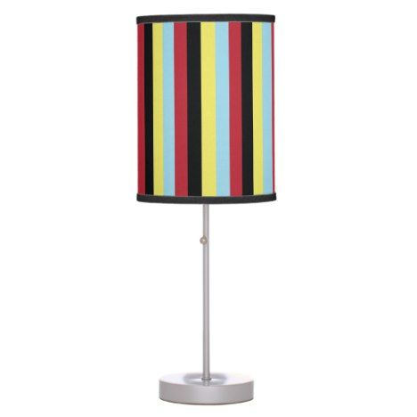 Cool Retro 70s Stripes Yellow Light Blue Red Black Table Lamp Zazzle Com Red Lamp Black And Red Black Table Lamps