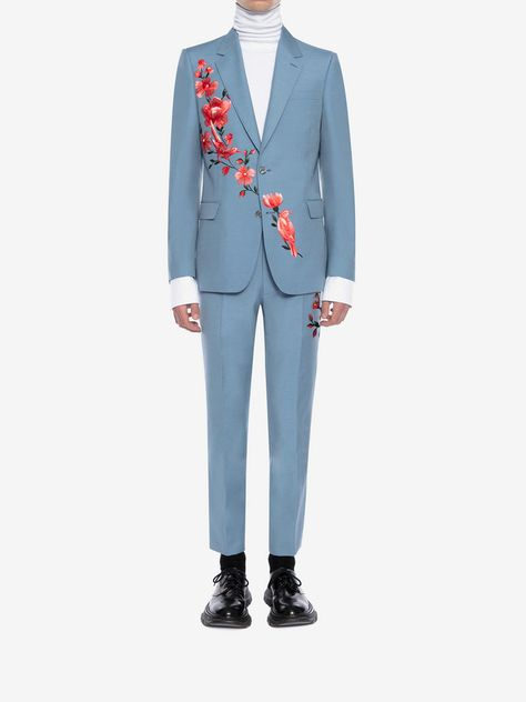 d857a3375e52f9  Men 's Powder Blue Floral Embroidered Jacket | Alexander McQueen