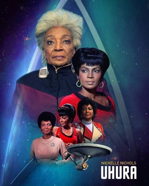 Nichelle Nichols · Jul 14 Thank you Gaz Williams for this beautiful poster, showing my amazing journey as Uhura. It has been over 50 years and I am so grateful for all the love and support I have received. Star Trek Enterprise, Star Trek Voyager, Star Trek Starships, Star Trek Actors, Star Trek Cast, Star Trek Characters, Star Trek Movies, New Star Trek, Star Trek Cosplay