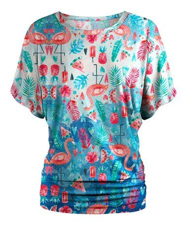Yours Clothing Women/'s Plus Size Black Flamingo /& Pineapple Crochet Top