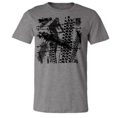 "Bicycle T-shirt- Mountain Bike Tee ""Tracks""  in Heather Grey"