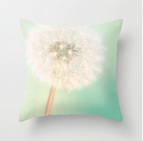 Dandelion Pillow Case, Mint Aqua & White Pillow Case Dandelions Pillowcase Flower Pillow Cover Floral Nursery Throw Pillow 16x1618x18 20x20