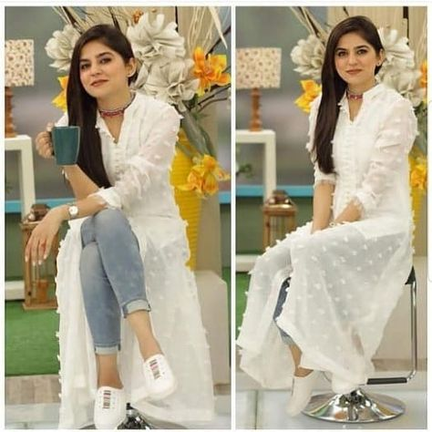 Sanam baloch Original fabric used by models Karandi front,back & sleeves Cotton embroidered trouser imported ( each suit with different…