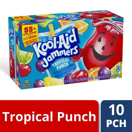 Kool Aid Jammers Tropical Punch Artificially Flavored Soft Drink 10 Ct Box 6 Fl Oz Pouches Walmart Com Flavored Drinks Kool Aid Tropical Punch
