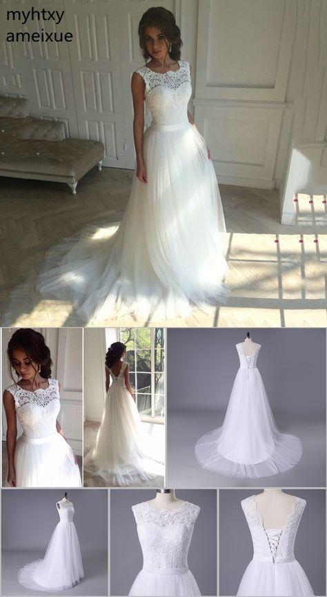 8f2ca77f4b5b 2018 New Lace O-Neck Lace Tulle Boho cheap Wedding Dresses Summer Beach  Bridal Gown Bohemian Wedding Gowns robe de mariage