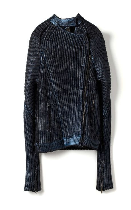 Metallic Printed Sweater Knit Motorcycle Jacket by 3.1 Phillip Lim for Preorder on Moda Operandi