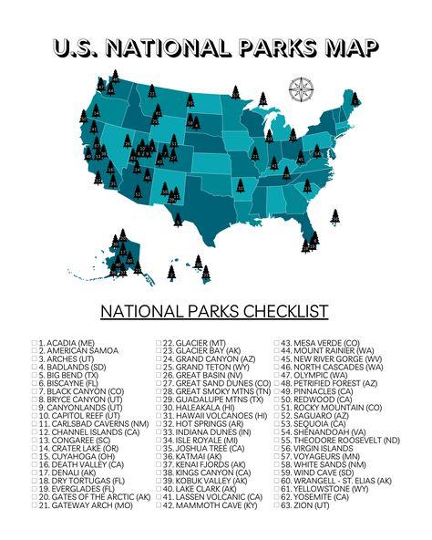 Printable U.S. National Parks Map