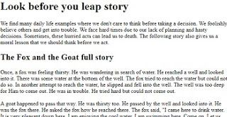 Here I A Short English Story With The Moral Lesson Look Before You Leap For 1st Year Student Storie Stories Essay On Necessity Mother Of Invention