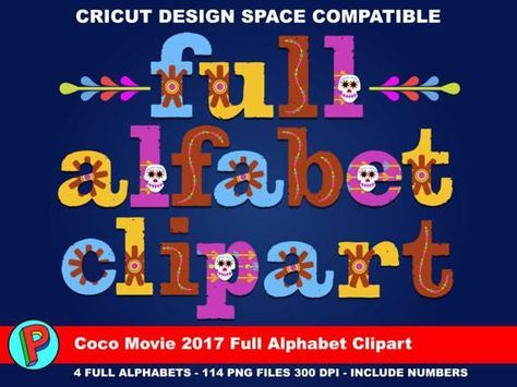 Coco Movie 2017 Full Alphabet Clipart 558 Png Files 300 Etsy Coco Alphabet Clipart 6th Birthday Parties