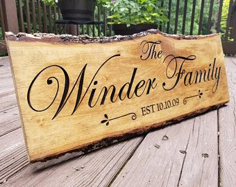 Personalized Wedding Gift Wood Bark Live Edge Engraved Family Name Sign Carved Wood Sign Anniversary Housewarming Gi Carved Wood Signs Wood Bark Wood Signs