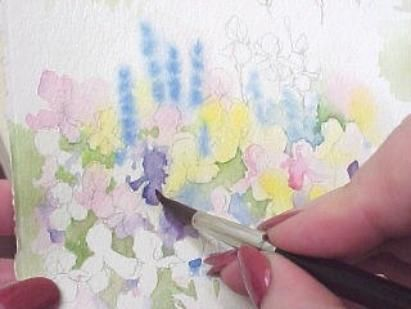 Susie Short's details for painting garden flowers close -up with watercolor