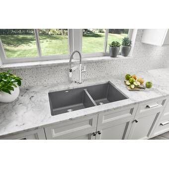 Quartz Classic 33 L X 22 W Double Basin Undermount Kitchen Sink Undermount Kitchen Sinks Composite Kitchen Sinks Blanco Kitchen Sinks