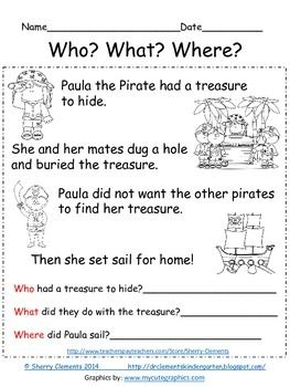 FREEBIE! Reading Comprehension: Who? What? Where? - Close Reading - guided reading - kindergarten reading - first grade reading