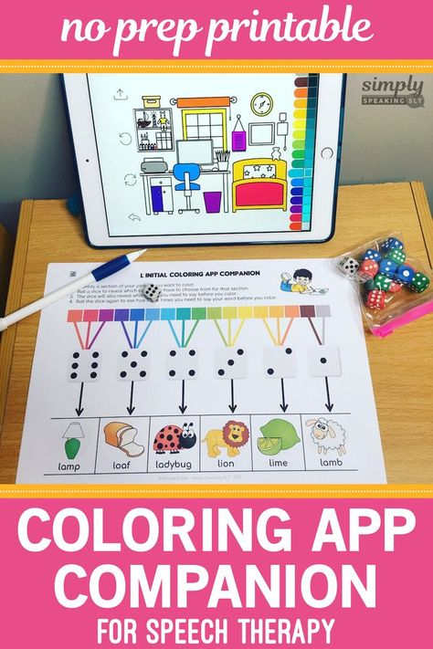NO PREP Coloring Book App Companion for Speech and Language
