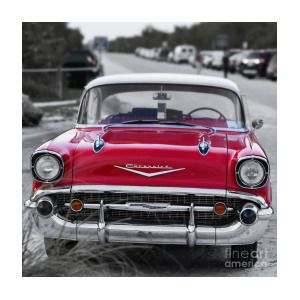 Red 57 Chevy Belair At The Beach Square By Edward Fielding Chevy
