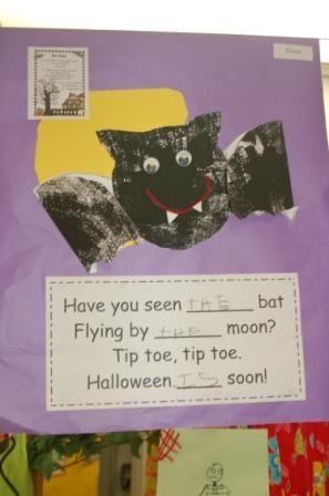 Halloween bat poem with sight words