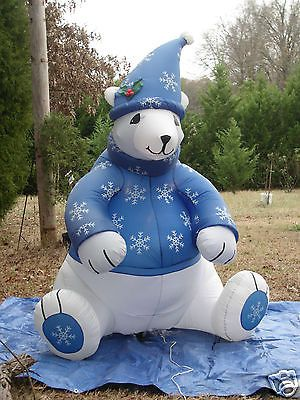 8' Tall Gemmy Polar Bear w Sweater Lighted Christmas Airblown Inflatable Blow Up | eBay