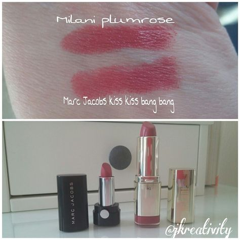 Milani Plumrose is a dupe for new Marc Jacobs Le marc lip creme kiss kiss bang bang