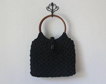 70s Black Crochet Knit Handbag Bag Purse Wooden Circle Handle Crochet Crochet Circles Circle Handle