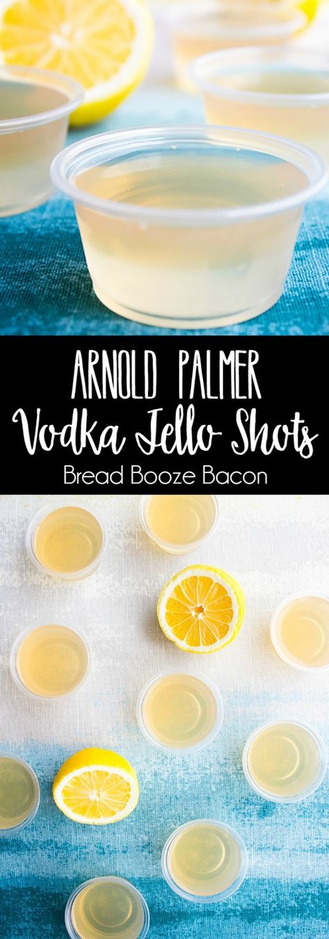 These Arnold Palmer Vodka Jello Shots aren't your mama's Arnie Palmer! They'll make you forego the fairways to party at the clubhouse! via @breadboozebacon