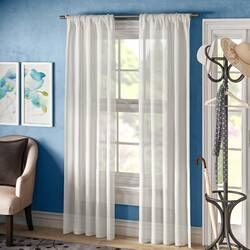 Berwick Linen Blend Solid Semi Sheer Rod Pocket Single Curtain Panel In 2020 Panel Curtains Curtains Colorful Curtains