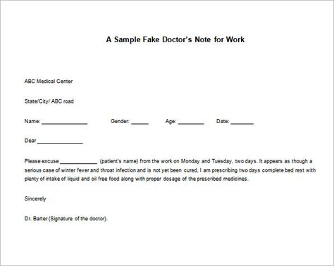 Doctor Note Templates for work u2013 8+ Free Word, Excel, PDF Download - doctors note template