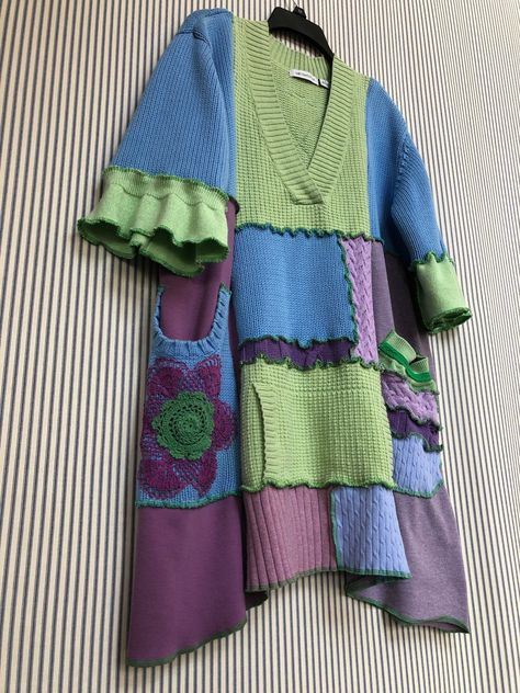 Excited to share this item from my shop: Upcycled Funky Patchwork Oversized Cotton Sweater Tunic Top , Spring Sweater , Sweater Refashion, Tunic Sweater, Cotton Sweater, Slouchy Sweater, Cashmere Sweaters, Pullover Upcycling, Thrift Store Refashion, Recycled Sweaters, Altered Couture