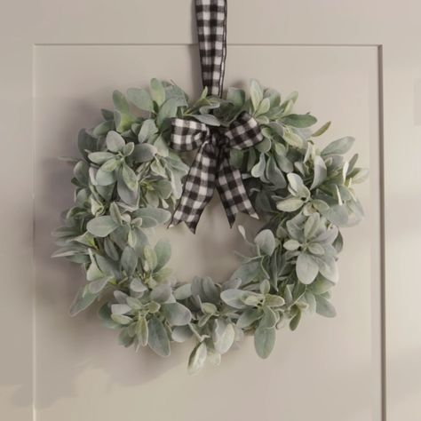 A few sprigs of artificial lamb's ear and a wire frame become a modern greenery wreath in just three simple steps.