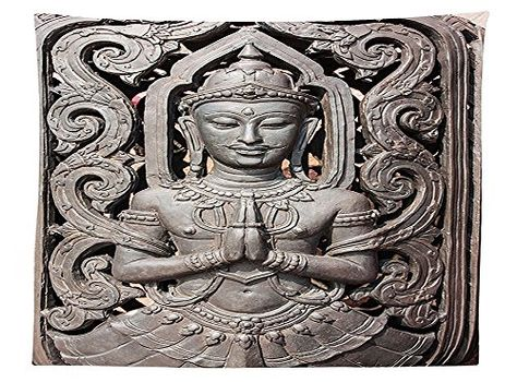 Decorative Polyester Floor Mat with Non-Skid Backing Antique Style Sculpture Traditional Thai Art Swirling Floral Patterns Japanese Elements 30 W X 18 L Inches Lunarable Asian Doormat Bronze