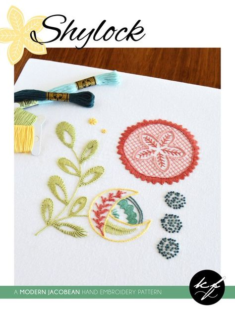 Shylock hand embroidery pattern, a modern crewel embroidery pattern PDF