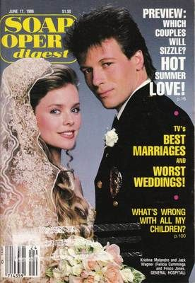 GH Frisco and Felicia wed #1 Soap Opera Digest June 17 1986 Kristina Malandro Jack Wagner Robert Lupone
