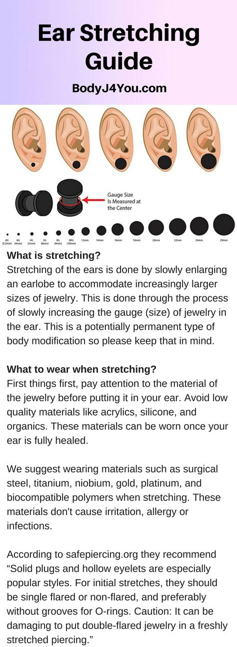 All you need to know about ear stretching. these ear stretching tips will inform you on what to wear while stretching, how long to wait between stretches and how to care for newly stretched ears. Click on the post to read more about our ear stretching guide  on our blog page!