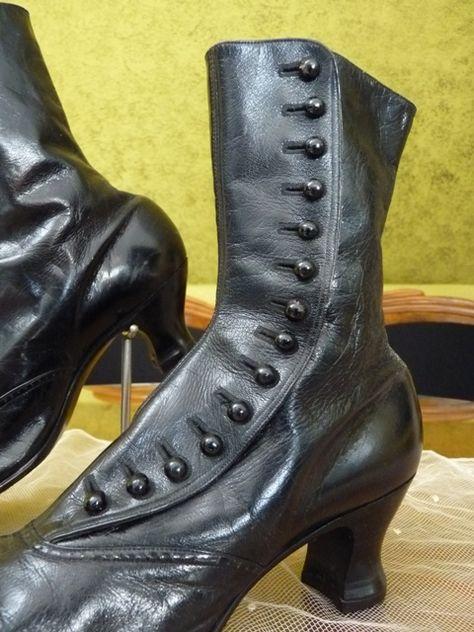 Victorian Black High Button Boots, ca. 1900   Stiefel