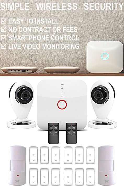 Smart Wi Fi Alarm System With Cameras Wireless Alarm System Wireless Home Security Systems Diy Home Security