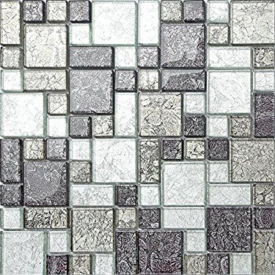 Black Silver Hong Kong Foil Glass Mosaic Tiles Modular Mix Sheet Mt0044 1 Sheet Amazon Co Uk Diy Tools Kobber