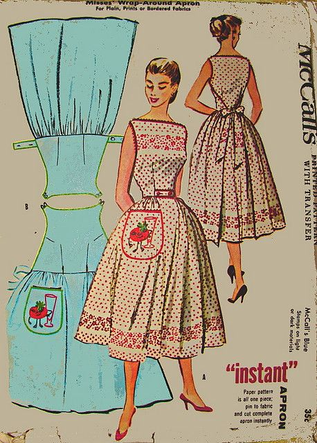 McCalls Vintage Wrap -around Apron Pattern. Back panel wraps around to the front and buttons at waist via tabs that slip through buttonholes. Front panel wraps around to the back and is tied with a bow at back waist.McCalls Vintage Wrap -around Apron Vintage Apron Pattern, Vintage Dress Patterns, Clothing Patterns, Vintage Dresses, Vintage Outfits, Wrap Dress Patterns, Retro Apron, Skirt Patterns, Blouse Patterns