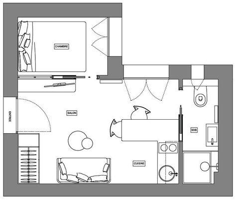 Studio 25m2 Plan de 5 pièces et 24 m2 plan Pinterest Studio