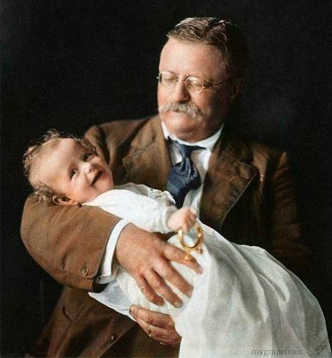 Theodore Roosevelt holding grandson Kermit Roosevelt Jr, 1916.  Kermit Sr. died in WWI.
