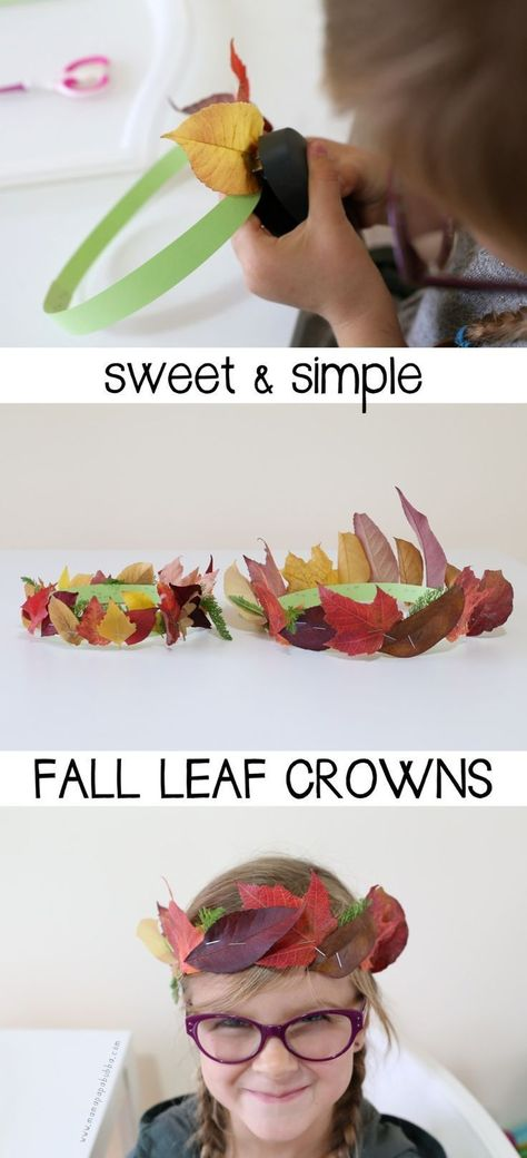 Sweet and Simple Fall Leaf Crowns - Mama. Sweet and Simple Fall Leaf Crowns - Mama. Halloween Crafts, Holiday Crafts, Easy Halloween, Autumn Leaves Craft, Leaf Crown, Thanksgiving Crafts For Kids, Thanksgiving Kids Crafts, Autumn Crafts For Kids, Leaf Crafts Kids