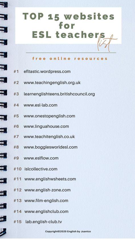 Top 15 Websites for ESL Teachers
